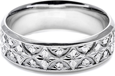 Tacori Mens Wedding Band With Hand Engraved Scroll Work 7 0mm Ht2389