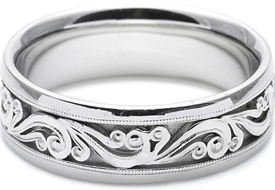 Tacori Mens Wedding Band With Hand Engraved Scroll Work 75mm HT2392