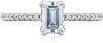 This image shows the setting with a .90ct emerald cut center diamond. The setting can be ordered to accommodate any shape/size diamond listed in the setting details section below.