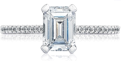 This image shows the setting with a 1.15ct emerald cut center diamond. The setting can be ordered to accommodate any shape/size diamond listed in the setting details section below.