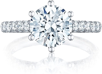 This image shows the setting with a 2.65ct round cut center diamond. The setting can be ordered to accommodate any shape/size diamond listed in the setting details section below.
