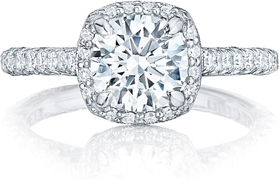 This image shows the setting with a 1.75ct cushion cut center diamond. The  setting can be ordered to accommodate any shape/size diamond listed in the  ...