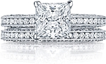 This image shows the setting with a 2.00ct princess cut center diamond. The setting can be ordered to accommodate any shape/size diamond listed in the setting details section below. Matching wedding band is sold separately.