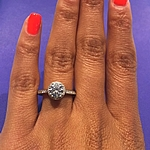 This image shows the setting with a 1.00ct round brilliant cut diamond in the center.