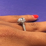This image shows the setting with a 1.00ct pear cut center diamond.