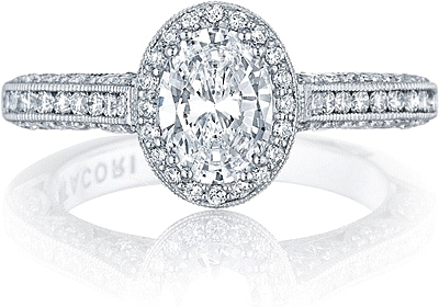 This image shows the setting with a 1.00ct oval brilliant cut center diamond. The setting can be ordered to accommodate any shape/size diamond listed in the setting details section below.