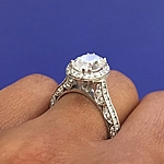 This image shows the setting with a 1.75ct oval brilliant cut center diamond.