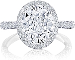 This image shows the setting with a 3.50ct oval cut center diamond. The setting can be ordered to accommodate any shape/size diamond listed in the setting details section below.