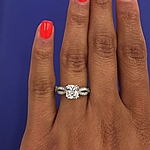 This image shows the setting with a 1.25ct cushion cut center diamond.