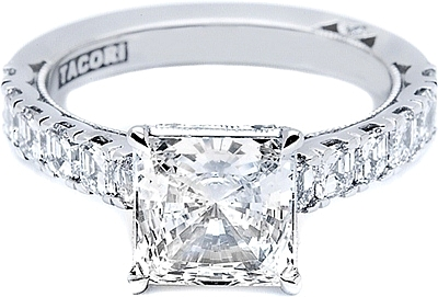 This image shows the setting (version #35-3PR75) with a 1.50ct princess cut center diamond. The setting can be ordered to accommodate any shape/size diamond listed in the setting details section below.