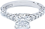 This image shows the setting (version #35-2PR55) with a 1.00ct princess cut center diamond. The setting can be ordered to accommodate any shape/size diamond listed in the setting details section below.
