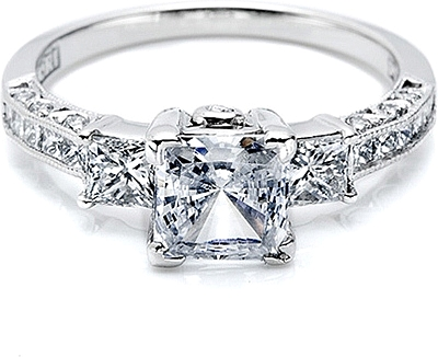 This image shows the setting with a 1.25ct princess cut center diamond ...