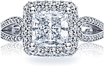 This image shows the setting with a 2.00ct princess cut center diamond. The setting can be ordered to accommodate any shape/size diamond listed in the setting details section below.