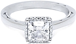 This image shows the setting with a .85ct princess cut center diamond. The setting can be ordered to accomodate any shape/size diamond listed in the setting details section below.