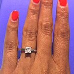 This image shows the setting with a .75ct princess cut center diamond.