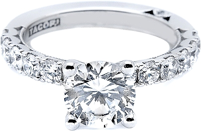 This image shows the setting with a 1.50ct round brilliant cut center diamond. The setting can be ordered to accommodate any shape/size diamond listed in the setting details section below.