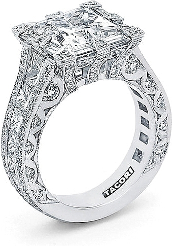Tacori Queen RoyalT Princess Cut Diamond Engagement Ring HT2601PR
