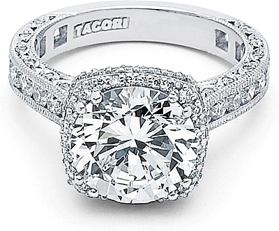 tacori royalt cushion halo diamond engagement ring in
