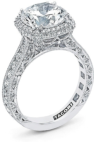 This image shows the setting with a 1.80ct round brilliant cut center  diamond. The