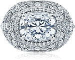 This image shows the setting with a 3.50ct cushion cut center diamond. The setting can be ordered to accommodate any shape/size diamond listed in the setting details section below.