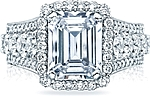 This image shows the setting with a 3.25ct emerald cut center diamond. The setting can be ordered to accommodate any shape/size diamond listed in the setting details section below.