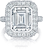 This image shows the setting with a 4.00ct emerald cut center diamond. The setting can be ordered to accommodate any shape/size diamond listed in the setting details section below.