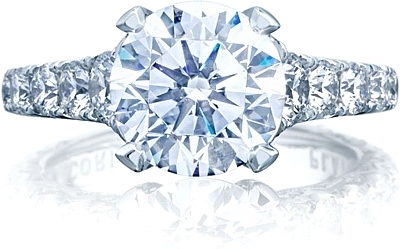 This image shows the ring with a 3.00ct round brilliant cut center diamond but can be ordered to accommodate any shape or size diamond listed below.