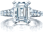 This image shows the ring with a 3.00ct emerald cut cut center diamond and can be ordered to accommodate any shape or size diamond listed below.