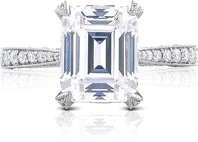 This image shows the setting with a 3.00ct emerald cut center diamond. The setting can be ordered to accommodate any shape/size diamond listed in the setting details section below.