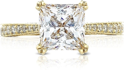 This image shows the setting with a 3.00ct princess cut center diamond. The setting can be ordered to accommodate any shape/size diamond listed in the setting details section below.