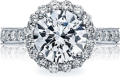 This image shows the setting with a 3.15ct round cut center diamond. The setting can be ordered to accommodate any shape/size diamond listed in the setting details section below.