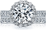 This image shows the setting with a 3.15ct round cut center diamond. The setting can be ordered to accommodate any shape/size diamond listed in the setting details section below. Matching wedding band is sold separately.