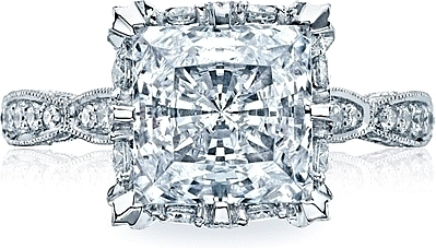 This image shows the setting with a 3.50ct princess cut center diamond. The setting can be ordered to accommodate any shape/size diamond listed in the setting details section below.