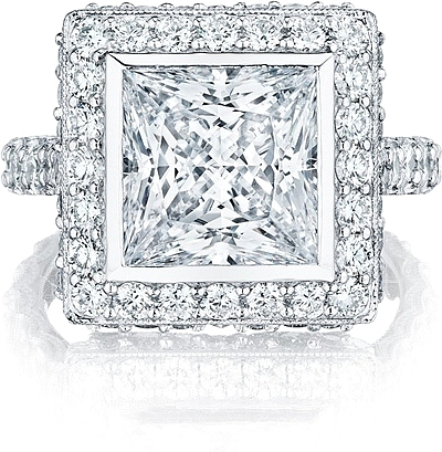 This image shows the setting with a 4.00ct princess cut center diamond. The setting can be ordered to accommodate any shape/size diamond listed in the setting details section below.