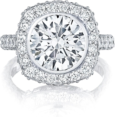 This image shows the setting with a 3.50ct round cut center diamond. The setting can be ordered to accommodate any shape/size diamond listed in the setting details section below.