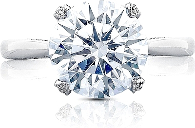 This image shows the setting with a 3.50ct round brilliant cut center diamond. The setting can be ordered to accommodate any shape/size diamond listed in the setting details section below.