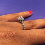 Tacori Solitaire Engagement Ring w/ Pave Diamond Accents 2638 and Matching Band