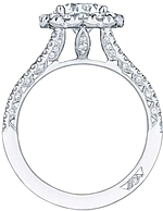This image shows the setting with a 1.00 round brilliant cut center diamond. The setting can be ordered to accommodate any shape/size diamond listed in the setting details section below.