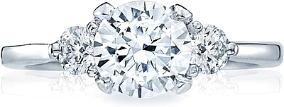 This image shows the setting with a 1.25ct round cut center diamond. The setting can be ordered to accommodate any shape/size diamond listed in the setting details section below.