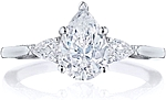 This image shows the setting with a 1.75ct pear cut center diamond. The setting can be ordered to accommodate any shape/size diamond listed in the setting details section below.