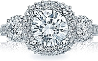 Tacori Three Stone Diamond Halo Engagement Ring