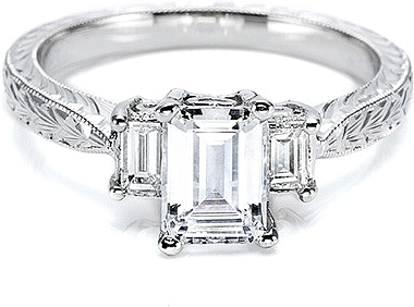 This image shows the setting with a 1.50ct emerald cut diamond. The setting  can
