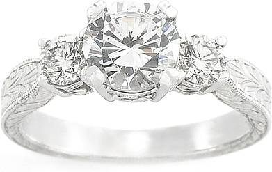 this image shows the setting with a 175ct round brilliant cut center diamond the - Stone Wedding Rings