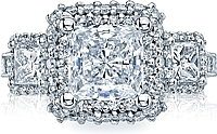 Tacori Three Stone Princess Cut Diamond Halo Engagement Ring
