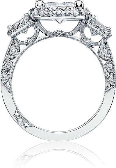 tacori three stone princess cut diamond halo engagement