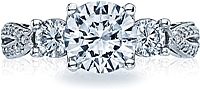 Tacori Three Stone Ribbon-Twist Diamond Engagement Ring