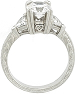 This image shows the setting with a 1.25ct round brilliant cut center diamond. The setting can be ordered to accomodate any shape/size diamond listed in the setting details section below.