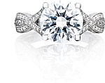 This image shows the setting with a 2.60ct round brilliant cut center diamond. The setting can be ordered to accommodate any shape/size diamond listed in the setting details section below.