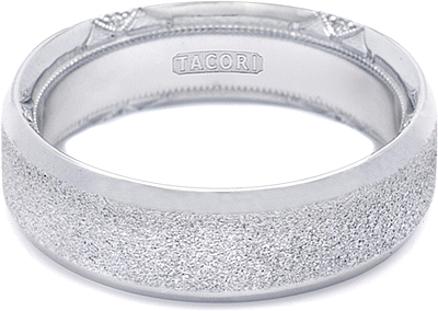 tacori wedding band with pebble finish and pave diamonds 70mm 6371pb - Tacori Wedding Ring