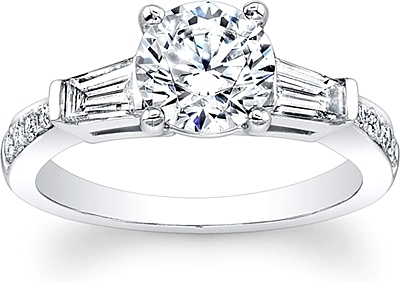 Tapered Baguette Diamond Engagement Ring. (0 Reviews) Write A Review. This  image shows the setting with a 1.00ct round brilliant cut center diamond.  The
